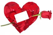 Heart with red rose love topic on Valentine's and mothers day, w — Stock Photo