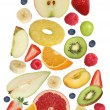 Collage of falling fruits like apples fruit, oranges, banana and — Stock Photo #63941727