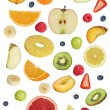 Collage of fruits like apples fruit, oranges, banana and strawbe — Stock Photo #63942205
