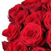 Giving a bunch of roses on birthday, Valentine's or mother's day — Stock Photo