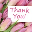 Thank You on greeting card gift with tulips flowers — Stock Photo #65372027