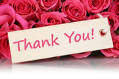 Thank You on greeting card with roses flowers on mother's or Val — Stock Photo