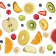 Collage of flying fruits like apples fruit, oranges, banana and — Stock Photo #66222535