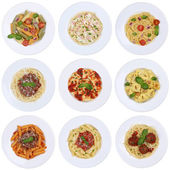 Collection of spaghetti, Ravioli noodles pasta meal isolated — Stock Photo