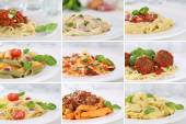 Collection of spaghetti pasta noodles food meals — Stock Photo