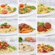 Italian cuisine collection of spaghetti pasta noodles food meals — Stock Photo #69353889