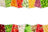 Vegetables like tomatoes, paprika, lettuce, potatoes with copysp — Stockfoto