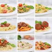 Italian cuisine collection of spaghetti pasta noodles food meals — Stock Photo