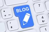Blog writing online on the internet computer — Stock Photo