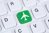 Booking flight and holidays online shopping e-commerce internet — Stock Photo