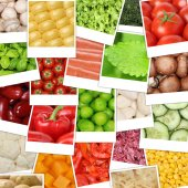Food Vegetables background with tomatoes, mushrooms, paprika, le — Foto Stock