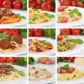 Italian cuisine collection of spaghetti pasta noodles food meals — Foto Stock
