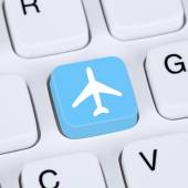 Internet concept booking flights and holidays online e-commerce — Stock Photo