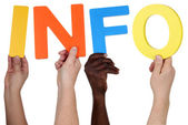 Multi ethnic group of people holding the word info — Stock Photo