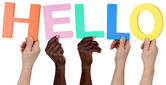Multi ethnic group of people holding the word hello — Stock Photo