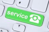 Service customer hotline telephone symbol on computer keyboard — Stock Photo