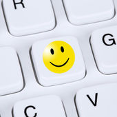Computer concept happy smiley symbol assessment feedback — Stock Photo