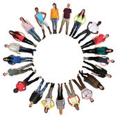 Happy multicultural multi ethnic group of young people in circle — Stock Photo