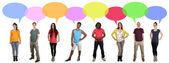 Multi ethnic group of many people talking with speech bubble and — Stock Photo