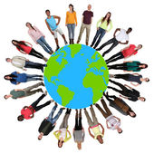 Happy multicultural multi ethnic group of young people on world — Stock Photo