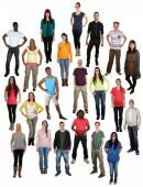 Large group of young happy smiling people background — Stock Photo