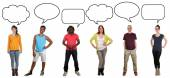 Group of young people saying opinion with speech bubble and copy — Stock Photo