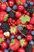 有草莓、 覆盆子和 cherr 浆果果实背景 — 图库照片