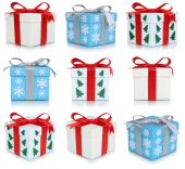 Christmas gift boxes collection of gifts — Stock Photo