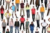 Large multi ethnic group of happy young people background isolat — Stock Photo