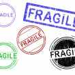 Постер, плакат: 5 Grunge Stamps FRAGILE