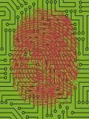 FingerPrint on Circuit Board — Stock Vector