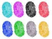 8 Colored Fingerprints — Stock Vector