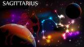 Sagittarius Astrological Sign and copy space — 图库矢量图片