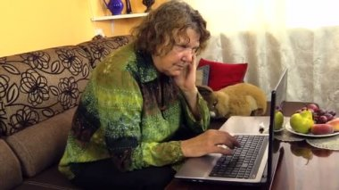 Senior grandma woman work with laptop notebook computer at home — Stock Video