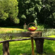 Basket with grape and peach fruit and glass with champagne cider — Stock Video #54815469