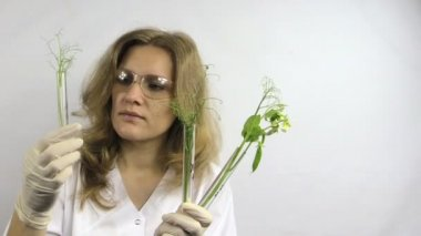 Woman research coded flask with diferent height peas — Stock Video