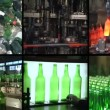 Collage of glass bottle recycling and production in factory — Stock Video #60993737