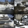 River waterfall cascade retro bridge frozen ice icicles winter — Stock Video #60993763