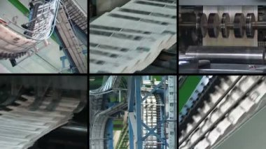 Collage of newspapers printing. Machine print daily paper press — 图库视频影像