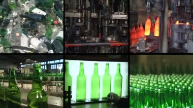 Collage of glass bottle recycling and production in factory — Stock Video