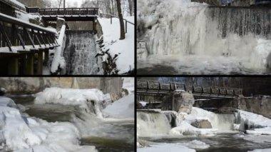 Brook waterfall cascade retro bridge frozen ice icicles winter — Stock Video