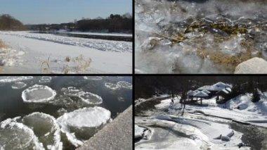 Ice floe floating on river water in winter season beautiful tale — 图库视频影像