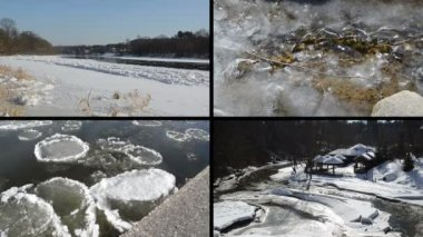Ice floe floating on river water in winter season beautiful tale — Stock Video