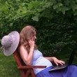 Pregnant woman talk phone break from computer work in park. — Stock Video #67570775