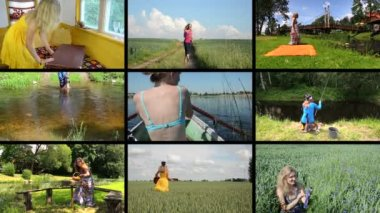 Happy woman spend holiday in nature. Active leisure. Collage — Stock Video