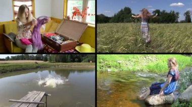 Summer holiday gaiety. Relax in nature. Video clips collage. — Stock Video
