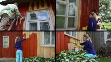 People renew old country house. Painting wall in red. Collage — Stock Video