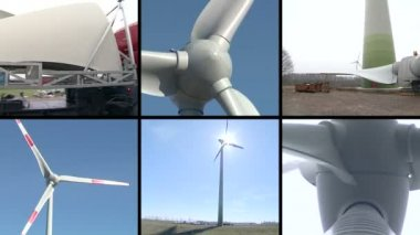 Wind turbine parts assembly works. Windmills spin. Video collage — Stock Video