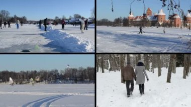 People skate on ice in winter. Ice surfers. Playful couple — ストックビデオ
