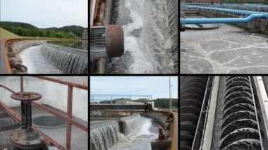 Sewage waste water cleaning plant. Waterworks. Footage collage — Stock Video